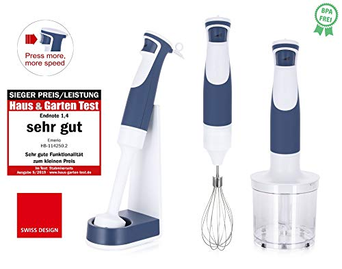 Emerio Stabmixer-Set, inkl. Aufsteller, BPA frei, Swiss Design, 1-Finger-Speed-Control, Hochleistungs DC-Motor, 500 Watt, HB-114250.2