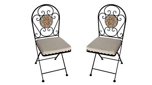 Lifestyle For Home Eisenstuhl Balkonstuhl 2er Set Garten Klappstuhl Blumen Mosaik im Rücken
