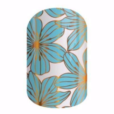 Catalina - Jamberry Nail Wraps - HALF Sheet - Light Blue Teal Floral with Metallic Gold