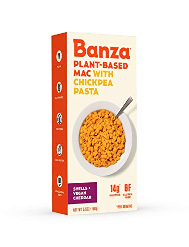 Banza Plant-Based Chickpea Mac & Cheese – Gluten Free Healthy Pasta - High Protein, Low Carb and Non-GMO - Shells with Dairy Free Vegan Cheddar Cheese (Pack of 6)