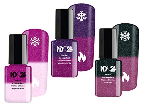 Thermo Glimmer Two Collection Set - Shellac Uv Soak Off Gel Nagellack - Made in Germany (3 x 12ml)