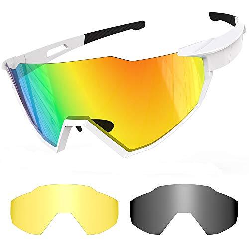 Sportbrillen Fahrrad, Unisex Polarisierte Brillen, UV400 Cycling Sunglasses, 2 Wechselgläser Radbrillen fahrradbrille herren für Outdoor Sport Radfahren, Motorradfahren, Laufen, Angeln, Golf (Weiß)