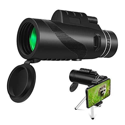 Telescopio monocular 12x50 HD, FMC BAK4 Monocular Resistente al Agua con Trípode Adaptador de Teléfono Inteligente para la Vida Silvestre Observación de Aves Caza Camping Viajes Paisaje