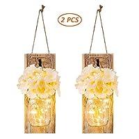 素朴な壁用燭台LED妖精ライトメイソンジャー燭台付き麻ロープとヴィンテージ錬鉄製のフックホームキッチン用装飾(2個)