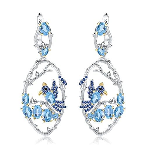 Pendientes De Plata De Ley 925 Chapados En Oro, Pendientes De Moda De Loro, Pendientes De Aproximadamente 52 Mm, Pendientes De Topacio Azul para Mujer