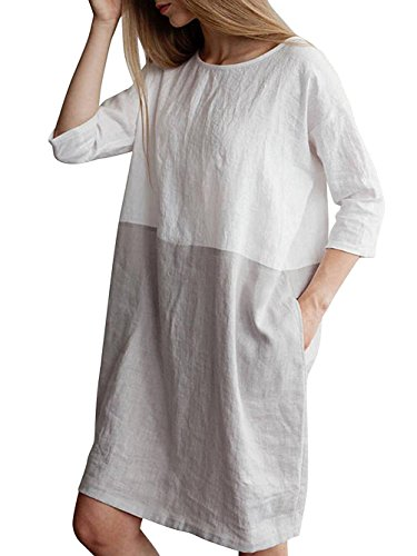 Famulily Women's Oversized 3 4 Sleeve Two Tone Colors Loose T Shirt Dress with Pockets Grey M