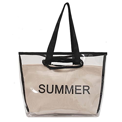QUQU Damenhandtasche Kosmetiktasche Aus Pvc-Kunststoff Transparente Strandtasche Zweiteiliger Anzug Geeignet Für Reisen Spielen Freizeit Und Einkaufen Weiß
