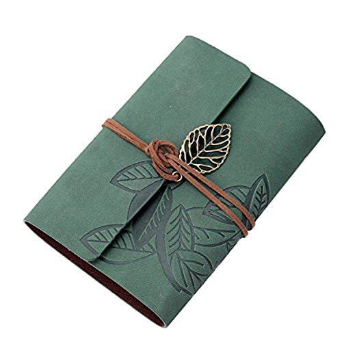 Notebook - Tagebuch Und PU - Ledereinband, Retro-Stil, Blatmuster, Leere Seiten, Dunkelgrün Retro Student Sub-Notebook,Grün