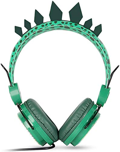 ZSW Lindo dinosaurio niños auriculares micrófono incorporado adolescentes estéreo plegable 3.5mm cable cable cable en la oreja auriculares para niños niños niñas
