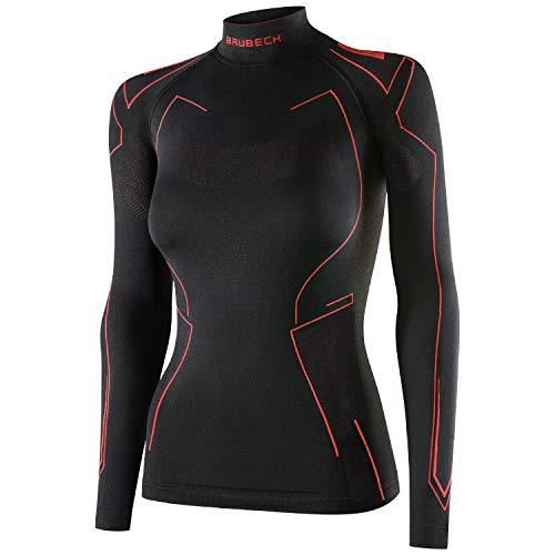 BRUBECK Damen Unterwäsche Motorrad | Langarmshirt | Langarm Funktionsshirt nahtlos kühlend | Base Layer atmungsaktiv | Motorradunterwäsche Frauen | Gr. XL | Schwarz - Rot | LS14350