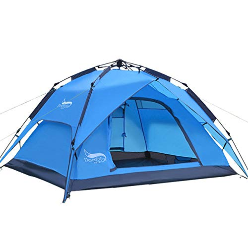 Mdsfe DesertFox Outdoor tents 3-4 people automatic tents double rainproof man camping tents multi-functional tents - Blue, A1