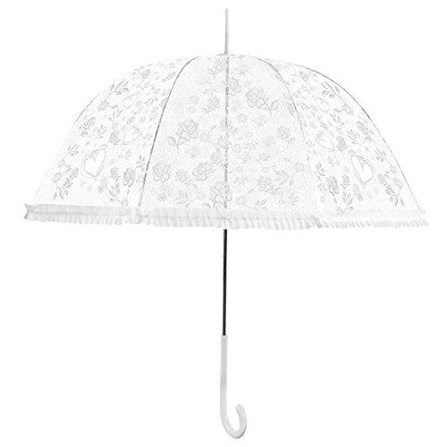 Tinksky Clear bulle parapluie dentelle Dome Parasol volants Trim Motif cœur Blanc