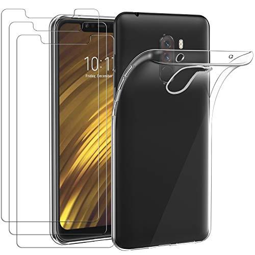 ivoler Funda para Xiaomi Pocophone F1, con 3 Unidades Cristal Templado, Transparente Suave TPU Silicona Carcasa Protectora Anti-Choque Caso Delgada Anti-arañazos Case