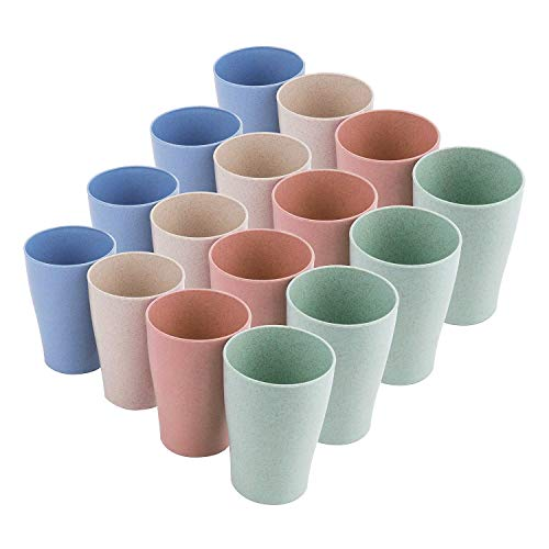 Camisin Paquete de 16 Vasos de Paja de Trigo, para NiiOs y Adultos Vasos Reutilizables de 10 Oz Vasos Apilables para Cocina Fiesta y Picnic