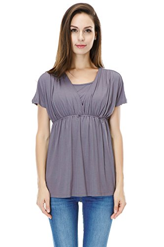 Product Image of the Bearsland Women's Breastfeeding and Nursing Summer Top,Gray,Large