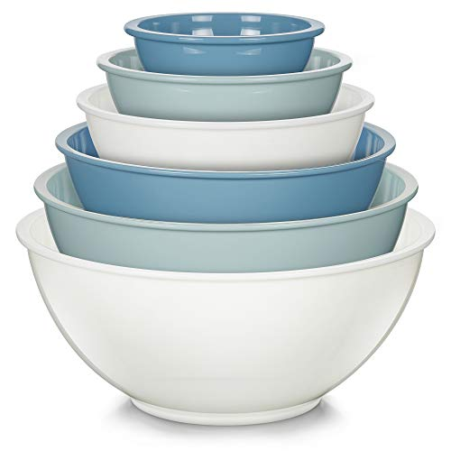YIHONG 6 Pcs Plastic Mixing Bowls Set, Colorful Mixing Bowls for Kitchen, Ideal for Baking, Prepping, Cooking, Food Storage, Nesting Bowls for Space Saving Storage
