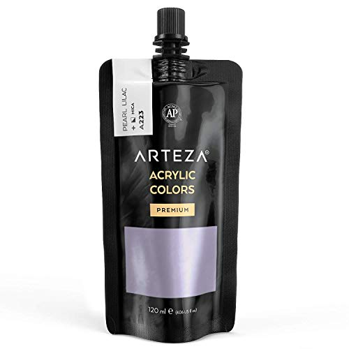 Arteza Metallic Acrylic Paint, Pearl Lilac A223, 120 ml Pouch, Highly Pigmented & Fade-Resistant, Non-Toxic, for Artists & Hobby Painters