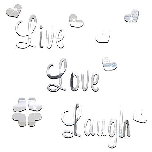 Live Love Laugh - Pegatinas para pared con espejo 3D, diseño de hibisco en forma de corazón