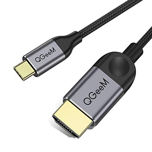 QGeeM USB C a HDMI Cable 1,8 m, USB Tipo C a HDMI Cable (Compatible con Thunderbolt 3) 4K Cable HDMI para Galaxy S8,2017 Macbook Pro/iMac, 2016 Macbook Pro, 2015 MacBook, Chromebook Pixel
