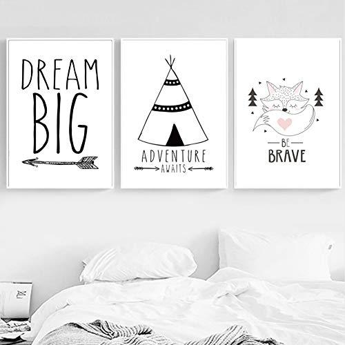 Kreative Karikatur Niedlicher Hase Hase Fuchs Alpaka Traum Zitate Seien Sie mutig Nordische Plakate und Drucke Wandkunst Leinwand Malerei Wandbilder Kinderzimmer Dekor 40 * 50cm * 3pcs