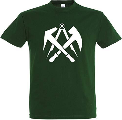 Herren T-Shirt Dachdecker Zunftwappen S bis 5XL (3XL, Flaschengrün)
