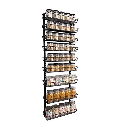 SWOMMOLY Adjustable Wall Mount Spice Rack, 9-Tier Dual-use (Multi-use) Organizer, Black
