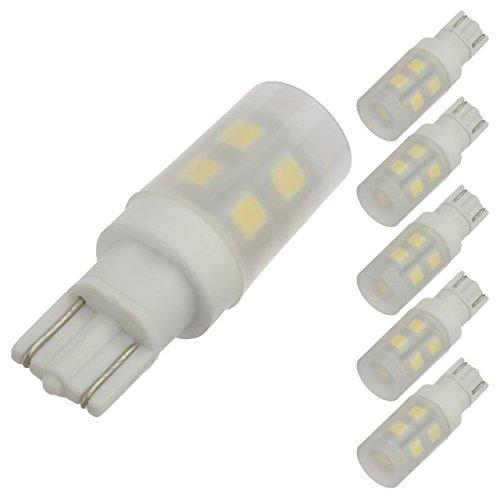 LEDwholesalers T10 Wedge Base Omnidirectional 1.5-Watt LED Light Bulb with Translucent Cover 12V AC/DC ETL-Listed (6-Pack), Warm White 3000K, 14606WWx6