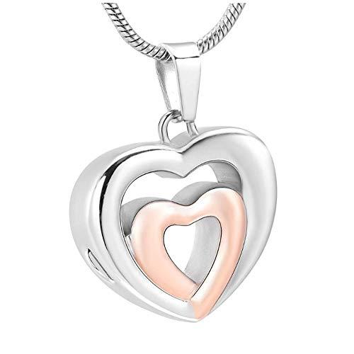 Wxcvz Colgante Conmemorativo Collar con Colgante De Urna De Cremación De Doble Corazón - Joyería De Recuerdo De Urna Conmemorativa De Acero Inoxidable para Mujer