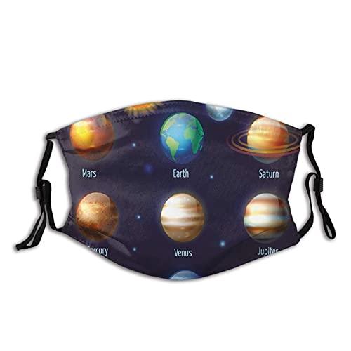 Komfortable, winddichte Maske, Sonnensystem, Planeten und die Sonne, Piktogramm-Set, astronomisches buntes Design, bedruckte Gesichtsdekorationen für Erwachsene