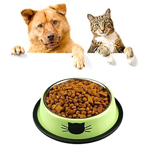 Yagoal Katzennapf Hundenapf Edelstahl rutschfest Hundeschalen Und -schüsseln Katzenschüssel Set Personalisierte Hundenapf Hundefutter Und Wasserschüssel Green