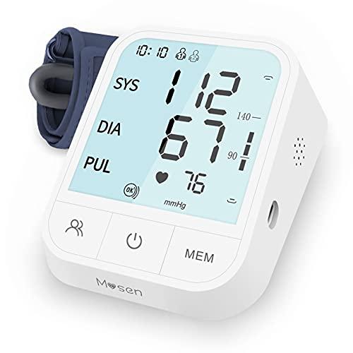 Mosen Oberarm Blutdruckmessgerät für Blutdruck & Herzfrequenz LCD-Display 2x99 Speicherkapazität 22-40cm Blutdruckmanschette Sprachübertragung TypeC & 4AAA für drinnen und draußen