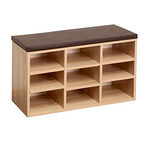 RICOO WM035-ES-B, Schuhregal, 79x49x30 cm, Holz Eiche Sonoma, Sitzbank mit Stauraum, Schuhschrank mit Sitzkissen, Schuhbank für Flur, Schuhablage