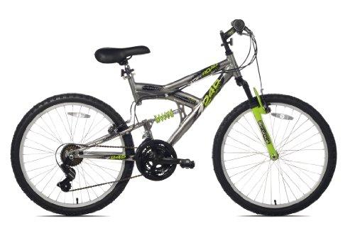 Northwoods Aluminum Full Suspension Mountain Bike, 24-Inch, Grey/Green