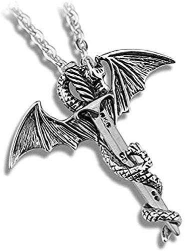 niuziyanfa Co.,ltd Pterosaurio Espada Personalidad dragón Punk aleación Colgante Collar para Hombre Mujer Fans joyería con Encanto Fresco