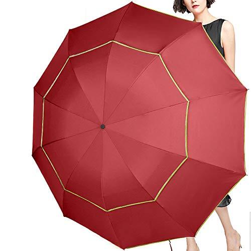 GNNHY 130 cm mannen paraplu dubbele laag 3 vouwen niet-automatische zakelijke paraplu 10 K sterke winddichte regen mannelijke paraplu vrouwen