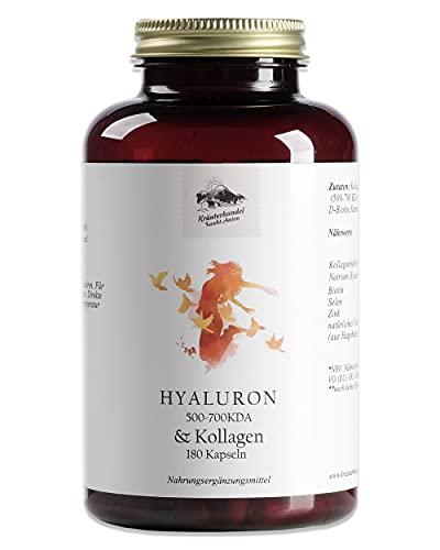 KRÄUTERHANDEL SANKT ANTON® - Hyaluron & Kollagen Kapseln - Laborgeprüft & Hochdosiertes Hyaluron & Kollagen - Deutsche Premium Qualität (180 Kapseln)