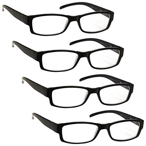 The Reading Glasses Company Die Lesebrille Unternehmen Schwarz Leicht Komfortables Leser Wert 4er-Pack Designer Stil Herren Frauen UVR4PK032 +2, 00 / Schwarz