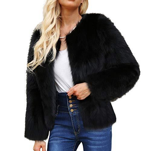 JERFER Femmes Casual Mode Hiver Chaud Manteau en Fausse Fourrure Veste d'hiver Parka Solide