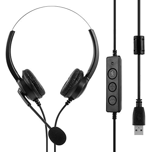 USB Headset with Microphone Adjustable Noise Canceling Earphone Call Center Headset Earphone for PC...
