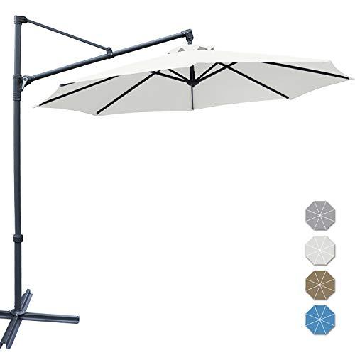 ABCCANOPY Patio Umbrellas Offset Hanging Umbrellas Cantilever Umbrella 10 FT Outdoor Market Umbrella with Easy Tilt,Crank & Cross Base for Beach, Garden, Deck, Backyard and Pool, 12+ Colors, (Beige)