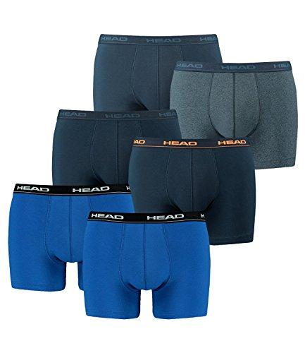 HEAD Herren Boxershorts 841001001 6er Pack, Wäschegröße:L;Artikel:1x2er blau / 1x2er Peacoat/orange / 1x2er Blue Heaven