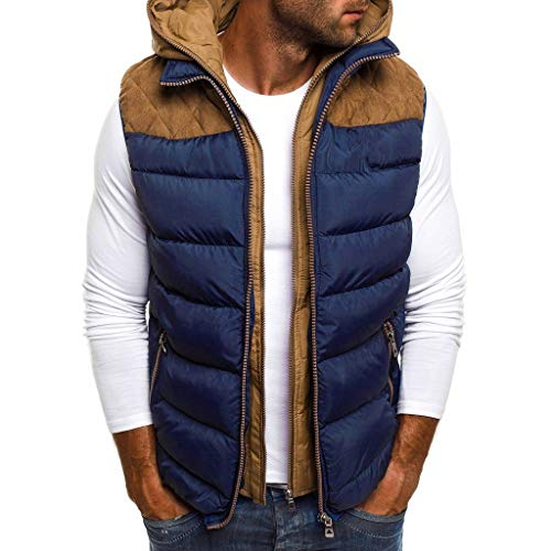 Riou Herren Steppweste mit Kapuze Winter Verdicken Warme Ärmellos Zipper Outdoor Weste Daunenweste Winterjacke S-5XL