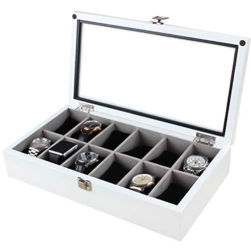 Holz Uhr Aufbewahrungsbox Glasvitrine TopKommt mit 12 abnehmbaren Uhrenkissen Zubehör Metallschnalle Schmucksammlung Box Organizer Halter