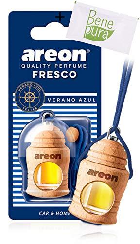 AREON Auto Lufterfrischer Parfüm Fresko 4 ml - Verano Azul-Duft - Hängende Flasche Diffusor mit Echtholzdeckel, langlebig