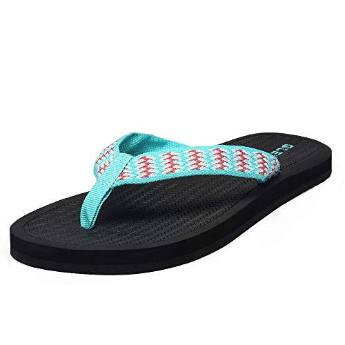 QLEYO Woman's Flip Flops, Comfort Foam Slippers, Wide Width Thong Sandals for Summer Beach/Holiday/Poolside/Bathhouse RZT02-W4-40