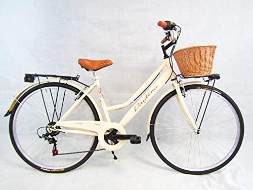 Daytona Bicicletta Donna Bici City Bike da Passeggio 28'' con Cambio Vintage Retro' Beige Cesto Vimini
