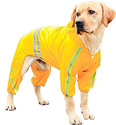 PETULANE Dog Raincoats Waterproof with Legs, Rain Jacket with Reflective Strips and Hood, Dog Jumpsuit Hoodie with Harness Hole High Vis for Small Medium Large Dogs Outdoor Accessories (L, Yellow)