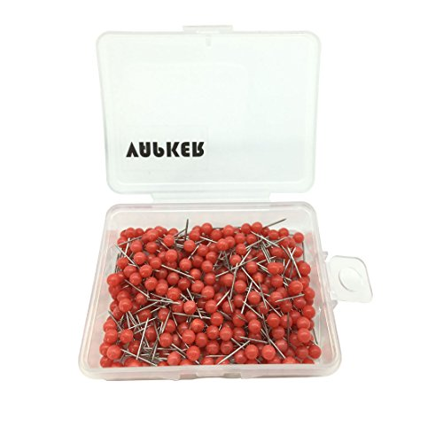 VAPKER 300Pcs 1/8 Inch Map Tacks Round Plastic Head Push pins with Stainless Point(Box of 300 Red Color pins)