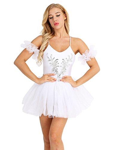 TiaoBug Damen Ballett Kleid mit Tüll Rock Ballett Trikot Body Ballettanzug Spagettiträger Tanzkleid weiß Tutu Kostüm Weiß XL