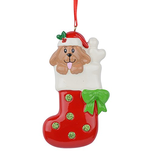 Image of Colorful Personalized Christmas Puppy Dog in Stocking Ornament